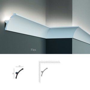 Grand Decor Polyurethaan - LED sierlijst voor indirecte verlichting, KF702 (80 x 60 mm), lengte 2 m