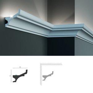 Grand Decor Polyurethaan - LED sierlijst voor indirecte verlichting, KF716 (79 x 80 mm), lengte 2 m