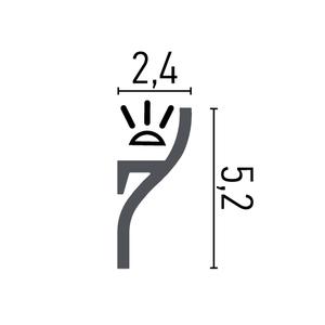 Grand Decor KH906 (52 x 24 mm), HDPS,  lengte 2 m