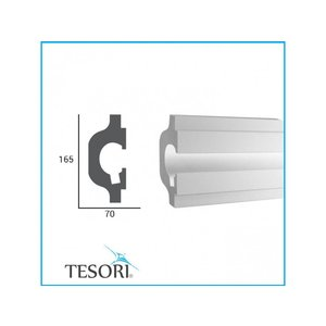 Tesori LED sierlijst voor indirecte verlichting XPS, KD119 (165 x 70 mm), lengte 1,15 m