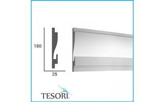 Tesori KD404 (180 x 44 mm), lengte 1,15 m, LED sierlijst voor indirecte verlichting XPS - Verzonken / Semi-Verzonken