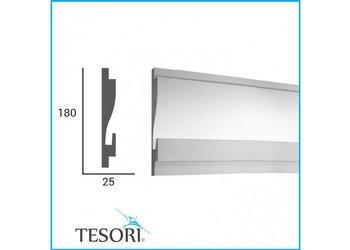 Tesori LED sierlijst voor indirecte verlichting XPS, KD404 (180 x 44 mm), lengte 1,15 m - Verzonken / Semi-Verzonken