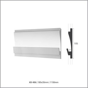 Tesori LED sierlijst voor indirecte verlichting XPS, KD406 (180 x 35 mm), lengte 1,15 m - Verzonken / Semi-Verzonken