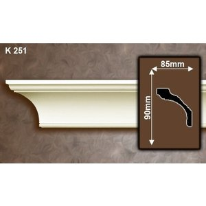 Grand Decor Kroonlijst K251 / P935 (90 x 85 mm), polyurethaan, lengte 2 m