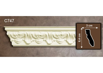 Grand Decor Kroonlijst C747 (64 x 30 mm), polyurethaan, lengte 2 m (Z8)