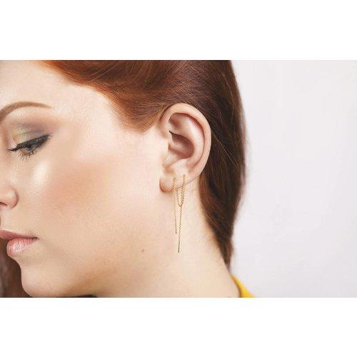 Lange threader oorbellen gold plated