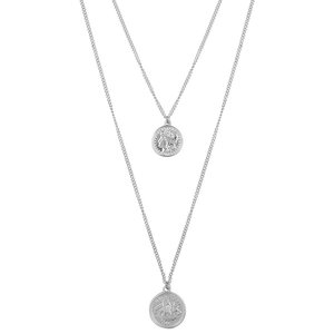 Club Manhattan Double Coin Necklace antique zilver