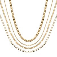Schakelkettingen Gold Dripping Necklace set