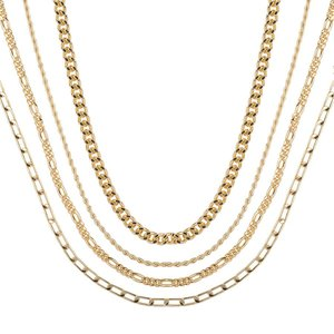Club Manhattan Schakelkettingen Gold Dripping Necklace set