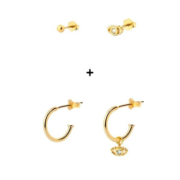 Aran Jewels Set van 4 oorbellen goud