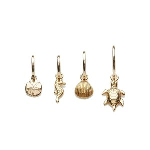 One piece oorring Charm gold filled