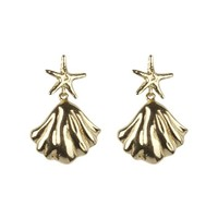 Oorbellen goud Starfish with clam earrings