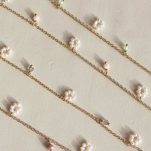 À La Armband flower freshwater pearls peach