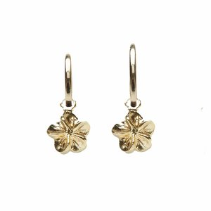 One piece 12 mm oorring Plumeria gold filled