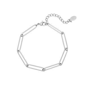 Oh So HIP Paperclip schakelarmband stainless steel zilverkleurig