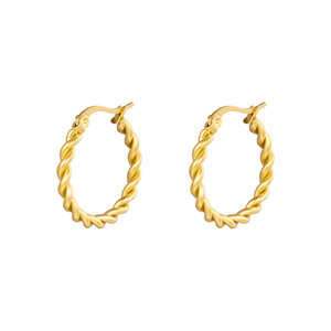 Oh So HIP Oorringen Twisted 22 mm goud