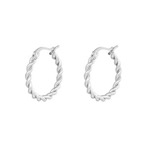 Oh So HIP Oorringen Twisted 22 mm zilver