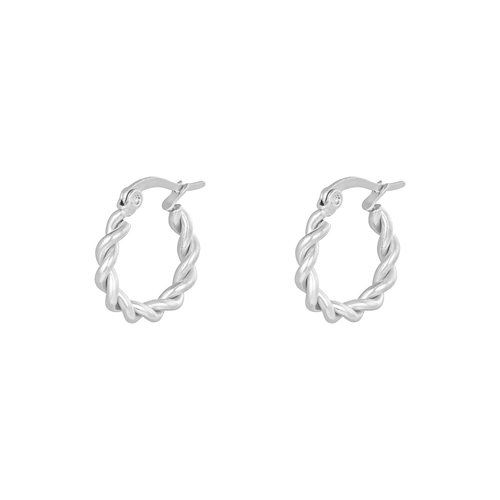 Oh So HIP Oorringen Twisted 15 mm zilver