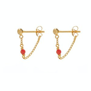 Xzota Oorbellen Dot chain coral gold plated
