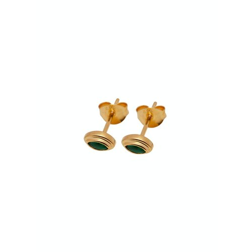 Xzota Lip green emerald studs gold plated