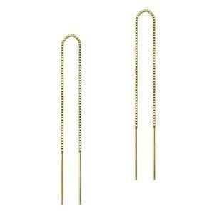 Threader oorbellen gold plated 12,5 cm
