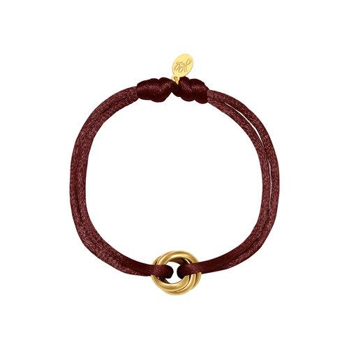 Satijnkoord armband met ringen bruin/goud