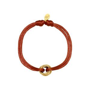 Satijnkoord armband met ringen terra