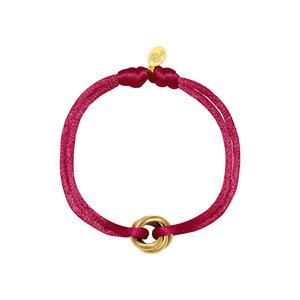 Satijnkoord armband met ringen burgundy