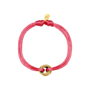 Satijnkoord armband met ringen roze/goud
