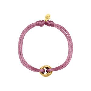 Satijnkoord armband met ringen lila/goud