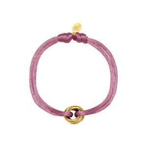 Satijnkoord armband met ringen lila