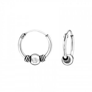 Oh So HIP Bali hoops 12 mm zilver met bolletje