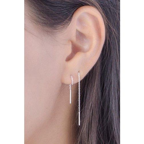 Threader oorbellen gold plated 9 cm