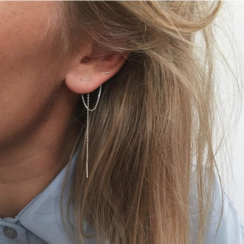 Lange threader oorbellen 925 zilver