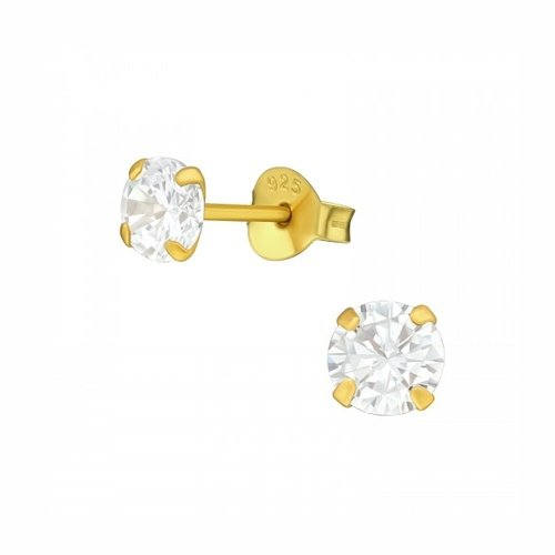 Oh So HIP Oorknopjes gold plated met zirkonia steentje 5 mm