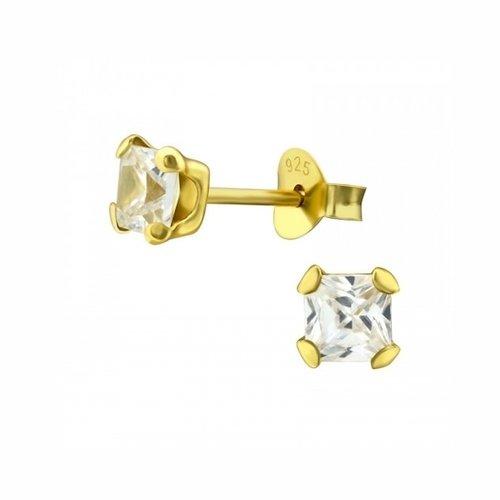 Oh So HIP Oorknopjes gold plated met zirkonia steentjes 4 mm