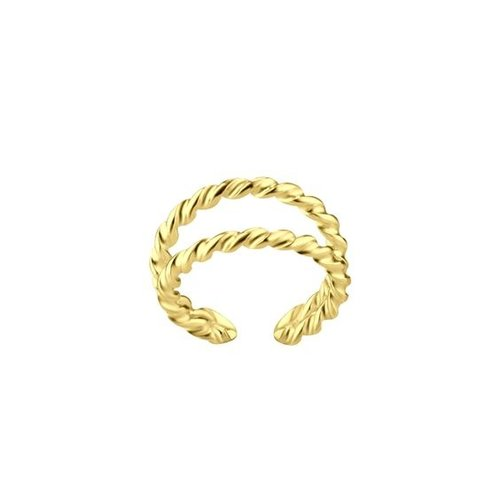 Dubbele ear cuff twisted gold plated