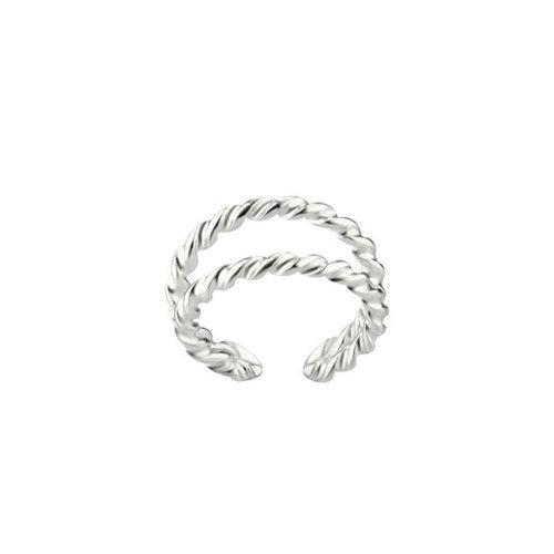 Dubbele ear cuff twisted 925 zilver