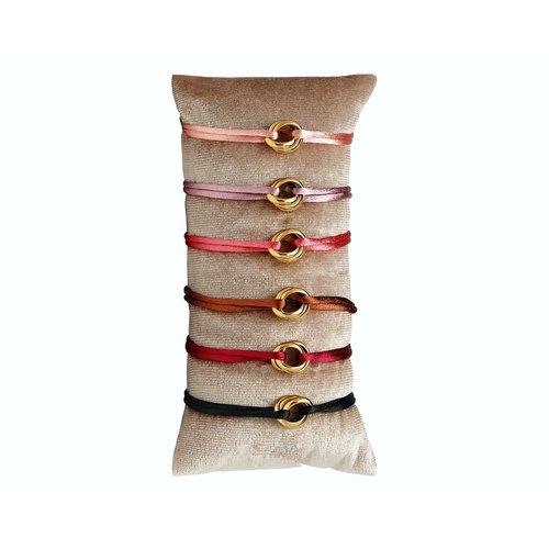 Satijnkoord armband met bruin