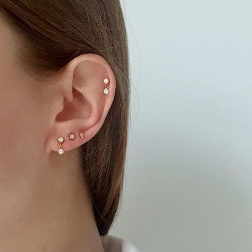 Marquise studs gold plated