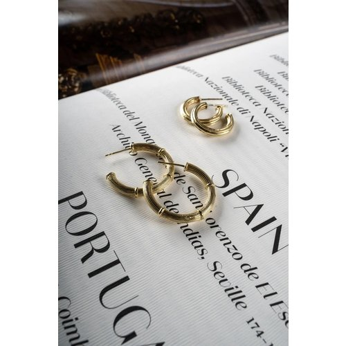 Flawed Vintage Pillar hoops large gold plated