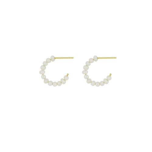 Flawed Classic Pearl hoops gold plated