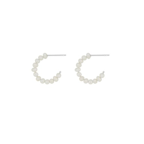 Flawed Classic Pearl hoops 925 zilver