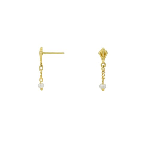 Flawed Vintage Pearl Chain studs gold plated