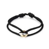 Satijnkoord armband met 2 ringen zwart
