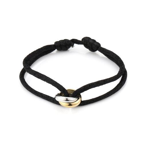 Oh So HIP Satijnkoord armband met 2 ringen zwart