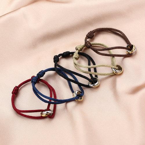 Oh So HIP Satijnkoord armband met 2 ringen blauw