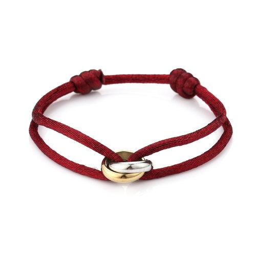 Oh So HIP Satijnkoord armband met 2 ringen rood