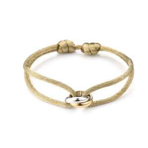 Oh So HIP Satijnkoord armband met 2 ringen