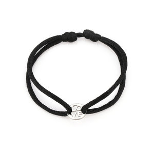 Oh So HIP Satijnkoord armband zwart met ring Love